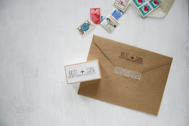 Return Address Stamp Wedding by Brittany Sazonoff