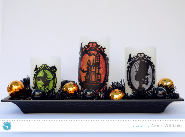 Halloween Decor Ideas For Your Silhouette - Glittered Halloween Candles by Annie Williams For Silhouette