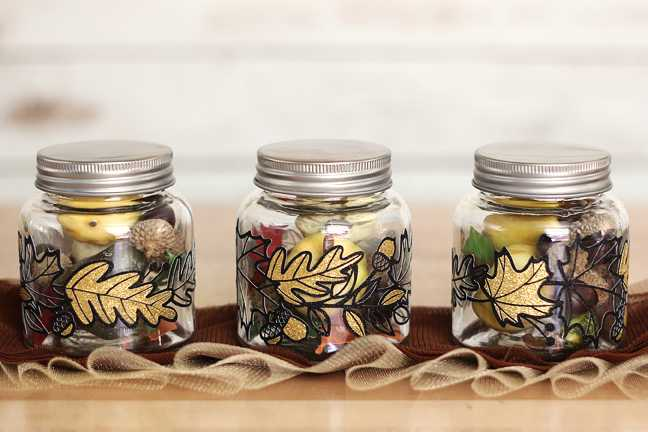 Fall Jars With Glitter Vinyl